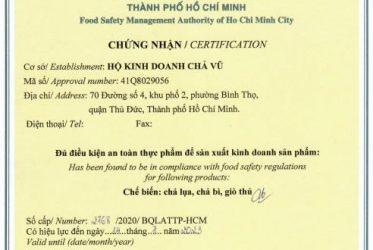 Thủ tục cấp giấy phép vệ sinh an toàn thực phẩm
